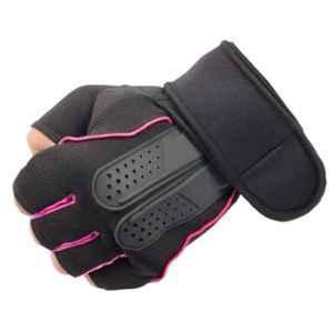 AllExtreme EXHG3OL Large Pink Microfiber Leather Anti-Slip Half Finger Bike Gloves