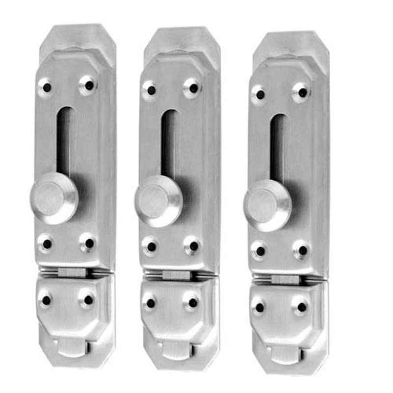 Nixnine 4 inch Stainless Steel Door Latch Lock, SS_LTH_A-604_4IN_3PS (Pack of 3)