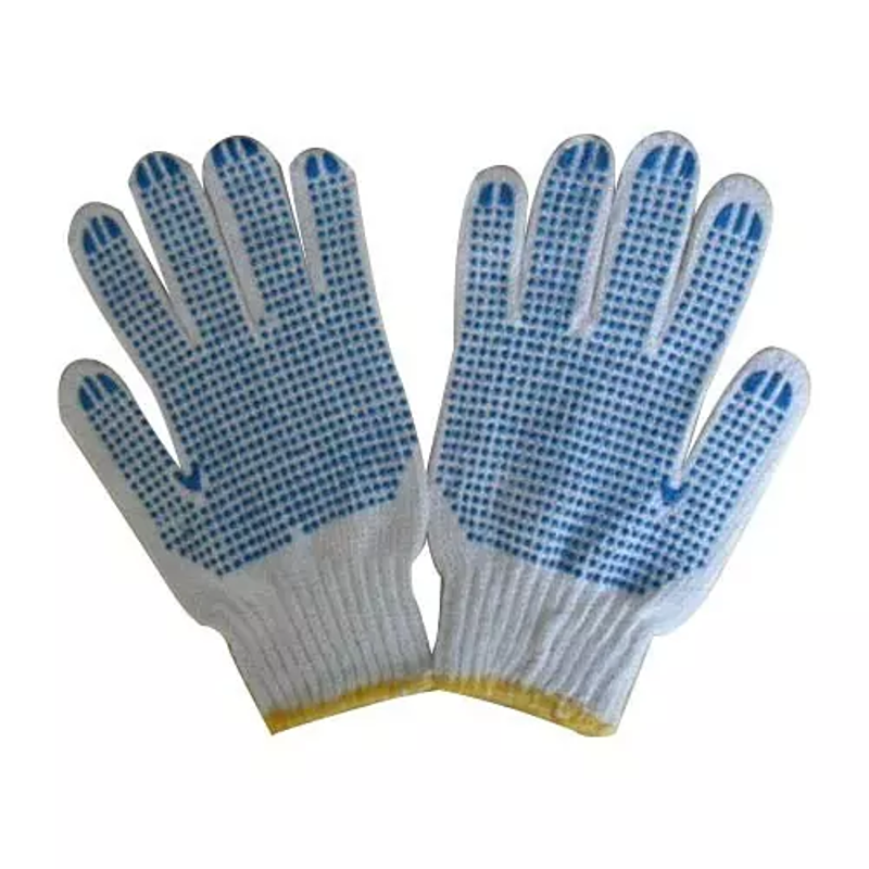 Metro Cotton Knitted White & Blue Hand Gloves with PVC Dotted (Pack of 100)