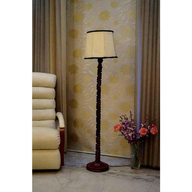 Tucasa Mango Wood Dark Brown Floor Lamp with Off White & Black Polycotton Shade, WF-132