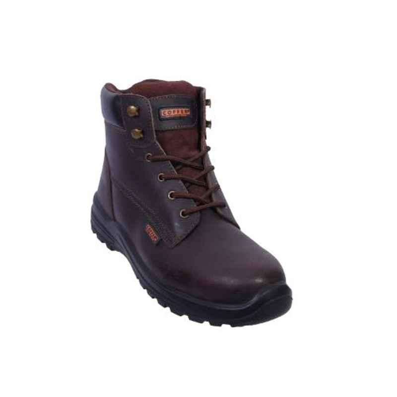 Coffer Safety CS-1030 Leather Steel Toe Brown Safety Boots, Size: 6