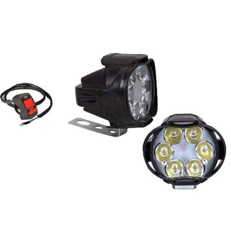 AllExtreme EX6FS2P 6 LED 10W Waterproof White Spot Beam Pod Fog Light with Switch Set