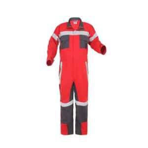 Club Twenty One Workwear Large Red & Grey Cotton Boiler Suit with 2 inch Reflective Tape