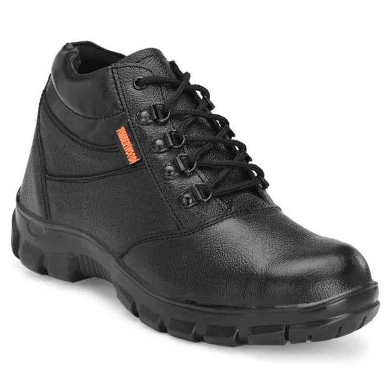 Timberwood TW46 Leather Steel Toe Airmix Sole Mid Ankle Black Safety Shoes, Size: 10