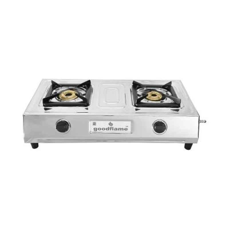 Good Flame Butterfly 2 Burners Manual Ignition Stainless Steel Gas Stove, GF001