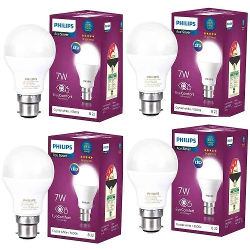 Philips 7W Cool Day White Standard B22 LED Bulb, 929001197944 (Pack of 4)