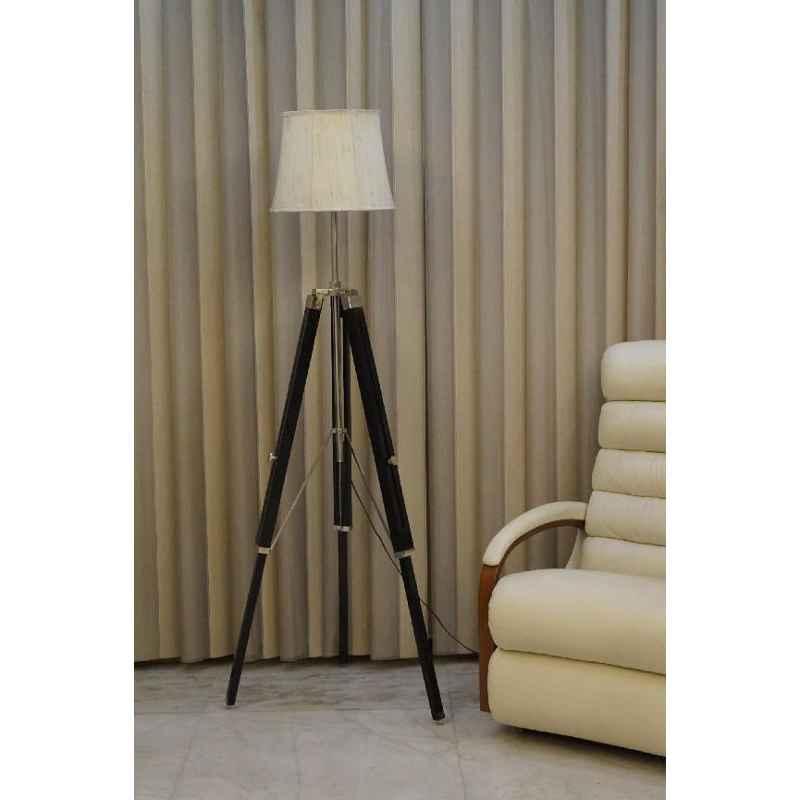 Tucasa Mango Wood Black Tripod Floor Lamp with Polycotton Off White Shade, P-133