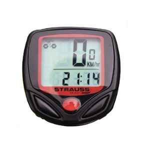 Strauss Black & Red Plastic Bicycle Speedometer, ST-1391