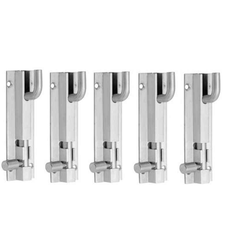 Nixnine 6 inch Stainless Steel Heavy Duty L-Shape Tower Bolt Door Latch Lock, SS_LTH_A-518_L_6IN_5PS (Pack of 5)