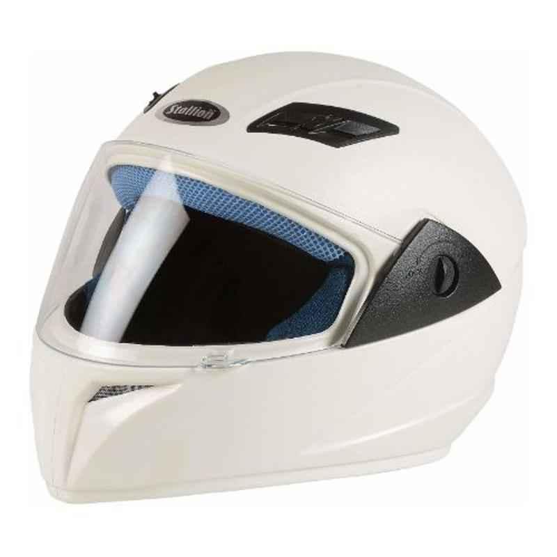 Stallion BLK Vento Plus White Full Face Bike Helmet, Size: M