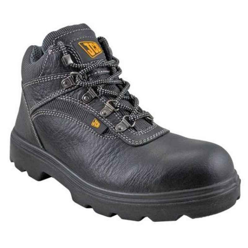 JCB Excavator Black Steel Toe Safety Shoes, Size: 10