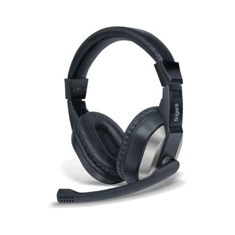 Fingers F10 Black & Slate Grey Wired Headphone with Adjustable Mic