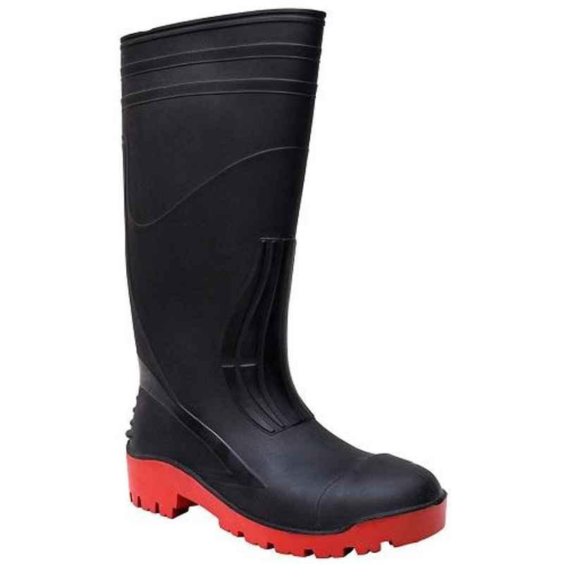 Abrigo Trooper 15 inch PVC Black & Red Steel Toe Gumboot, Size: 8