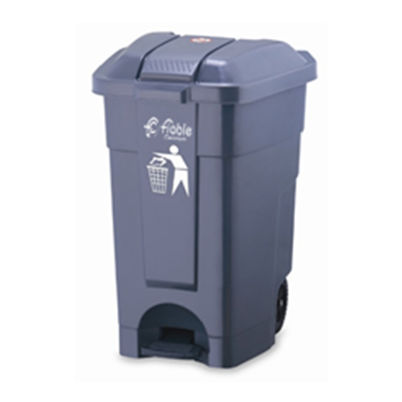 Fiable 70L HDPE Grey Center Foot Pedal Dustbin with 2 Wheels, FDB 70