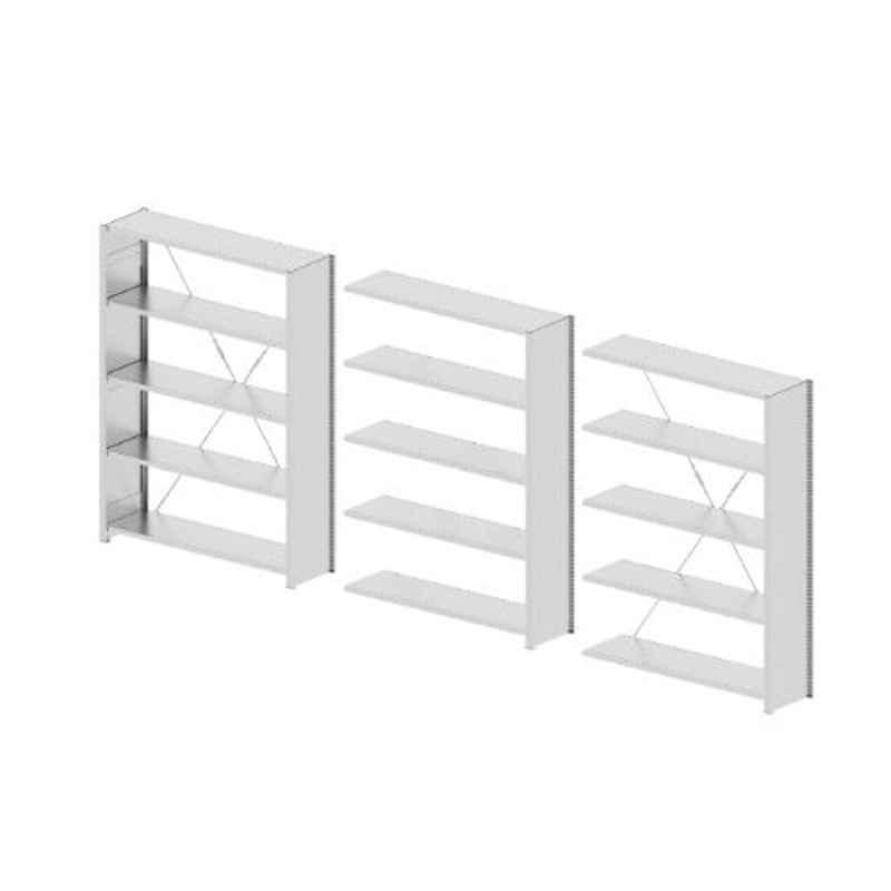 Godrej Altius Lite 1000x600x1900mm Steel Light Grey Storage Rack with 5 Layers (Pack of 3)