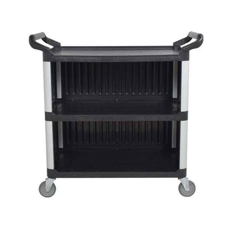 Bigapple 250kg Aluminium & Plastic Black & Grey Triple Platform Service Cart Trolley, TRL-SPH-SC-LARGE-COVERED-BLACK
