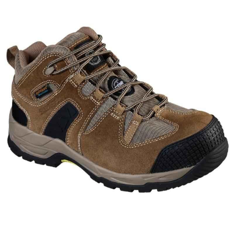 Skechers 77538 Leather Composite Toe Khaki Safety Shoes, Size: 8