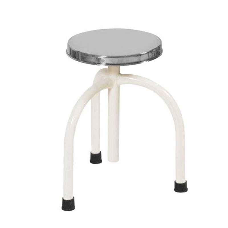 11 Enterprises 2-2.5ft Silver & White Round Revolving Round Stool