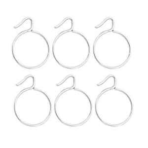 Smart Shophar 1.25 inch Stainless Steel Silver Supreme Curtain Ring, SHA8CR-SUPR-SL1.25-P6 (Pack of 6)