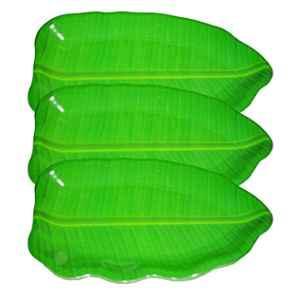 HG Hawa 3 Pcs 16 inch Melamine Banana Leaf Shape Plates Set