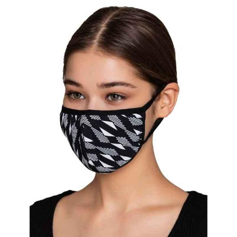 Clovia MASK19P13 3 Ply Washable Printed Black Face Mask (Pack of 15)