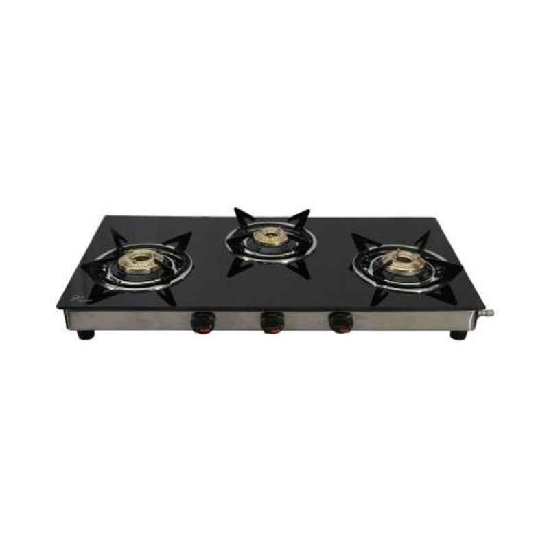 Good Flame Kwid 3 Burners Manual Ignition Glass Gas Stove, GF0073