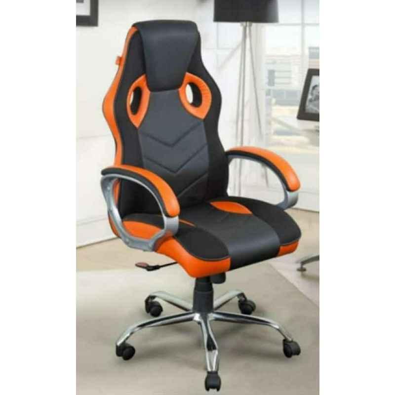 Caddy 558.8x482.6x1016mm Orange & Black Leather Gaming Ergonomic Chair with Headrest, MISG5