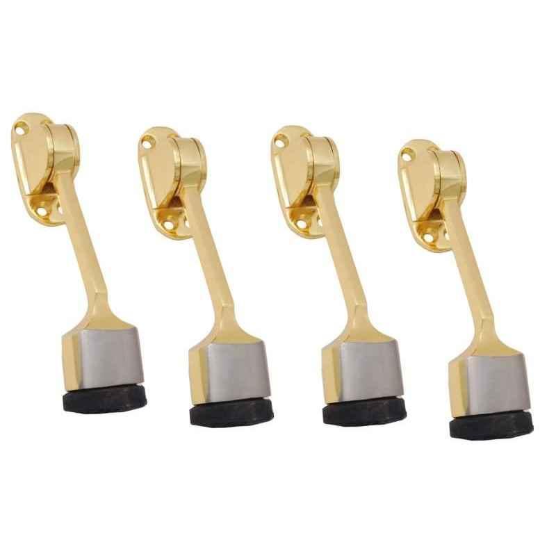 Smart Shophar 5 inch Brass Gold Silver Vanilla Door Stopper, SHA10ST-VANI-GS05-P4 (Pack of 4)