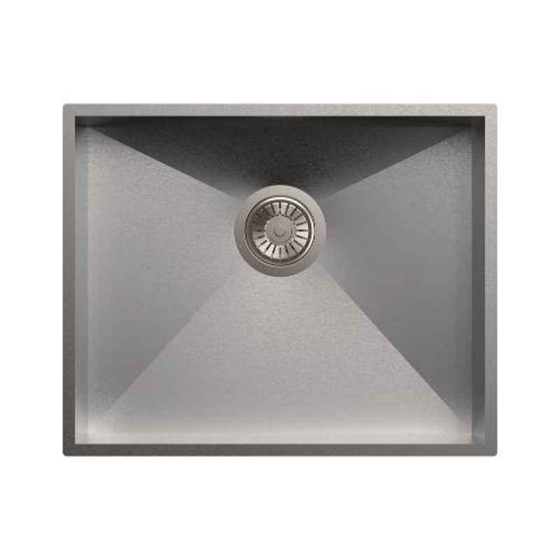 Carysil Quadro Single Bowl Stainless Steel Matt Finish Kitchen Sink, Size: 21x17x8 inch