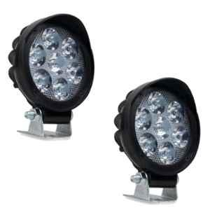 AllExtreme EX7RF2P 2 Pcs 7 LED 3 inch 10W Round White Waterproof Flood Fog Light with Adjustable Mounting Bracket Set