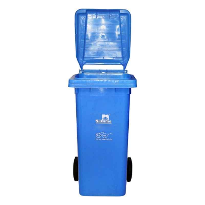 Nilkamal 120 Litre Blue Virgin Plastic Wheel Dustbin, WB120L, Dimension: 92x48x55 cm