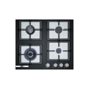 Bosch Serie-4 60cm 4 Brass Burner Black Glass Gas Hob with Auto Ignition Knob, PPI9S6F20I