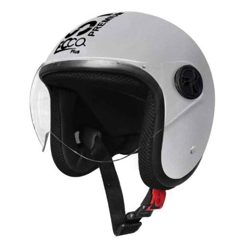 Habsolite EPM02 Ecco Plus Silver Open Face Helmet with Retractable Visor & Adjustable Strap, Size: M