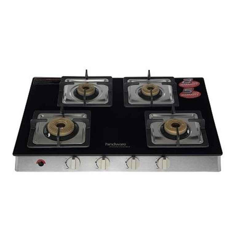 Hindware Lorenzo 4B AI 4 Burner Automatic Ignition Black Glass Gas Stove