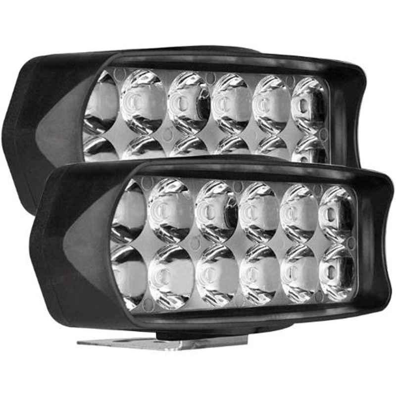 AllExtreme EXL22WW 2 Pcs 12 LED 18W White Off/On Road Driving Work Fog Light Set