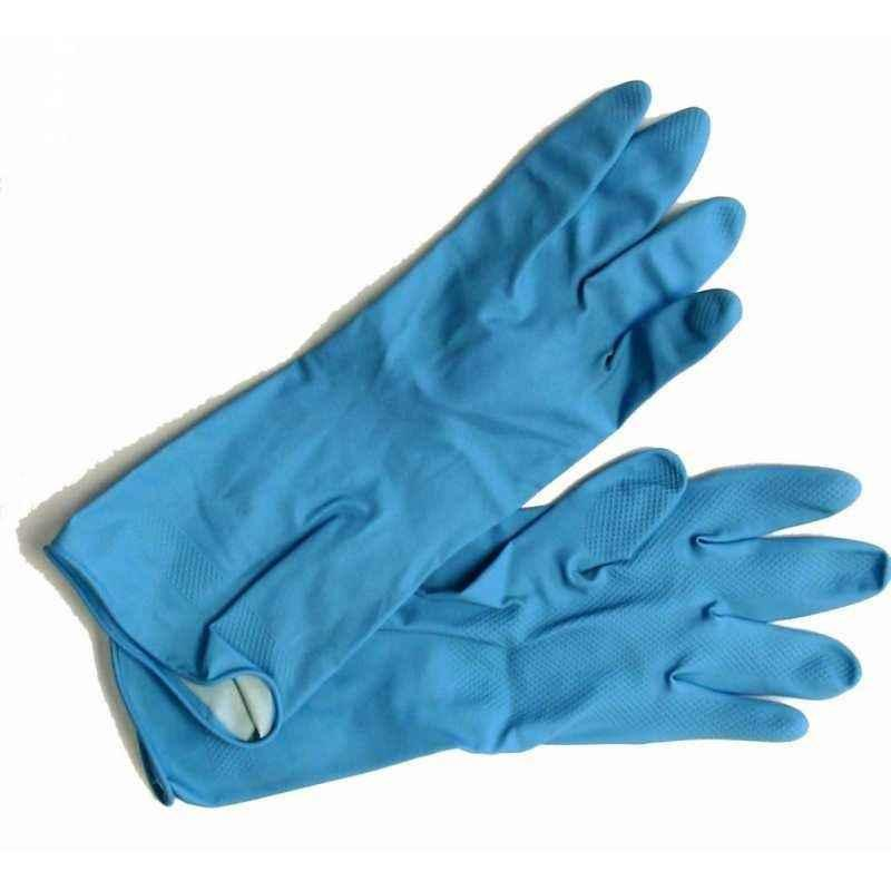 Hand Care Blue Rubber Safety Hand Gloves (Pack of 10)