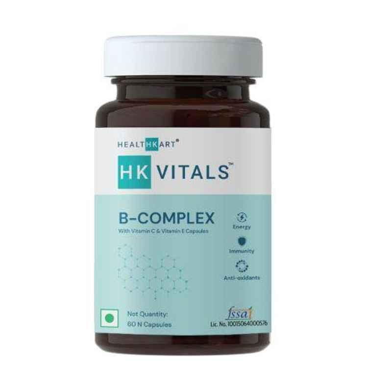 Healthkart 60 Pcs B Complex Unflavoured Multivitamin Capsules, HNUT15382-01