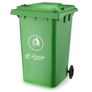 Fiable 360L HDPE Green Dustbin with Lid & 2 Wheels, FDB 360