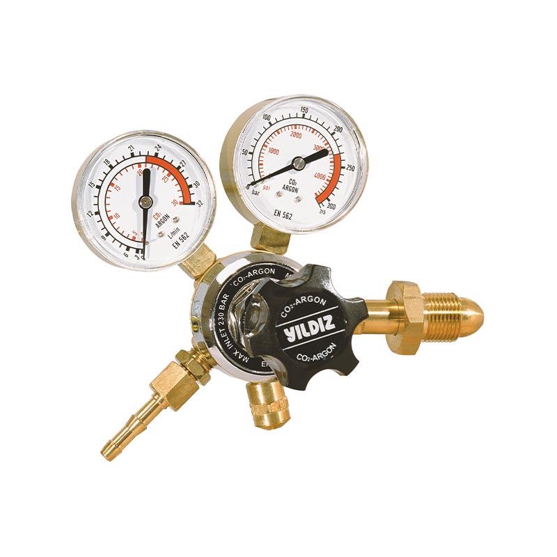 Yildiz Star 230-21 lpm Argon & Mixed Gas Pressure Regulator with Flow Gauge, 5441