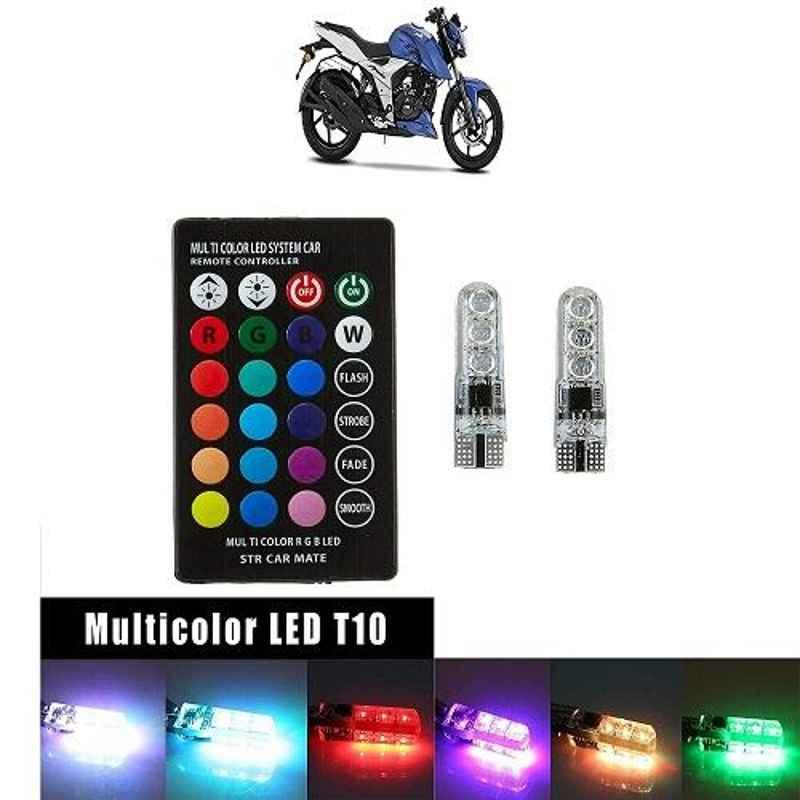 A4S T10 RGB 6 SMD LED Car/Bike Parking Light with Remote Control & 13+ Strobe Effects for TVS Apache RTR 160 4V