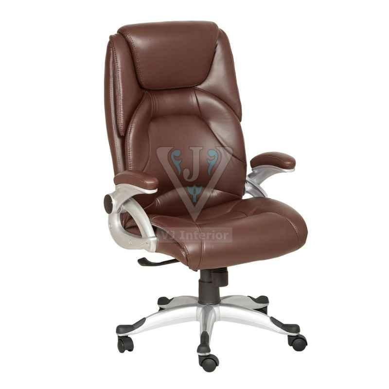 VJ Interior 19x20 inch Cushioned Brown Leather Executive Chair With SS Wheelbase, VJ-1626