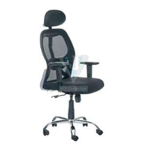 VJ Interior Black Mesh Adjustable Arm Office Chair, VJ-1908