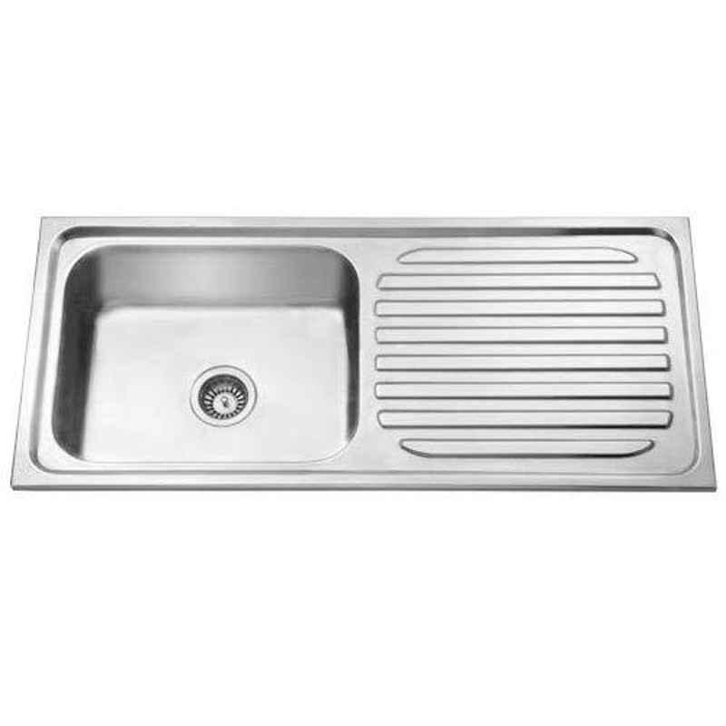 Crocodile 42x20x9 inch Single Bowl Stainless Steel Kitchen Sink with Drainboard