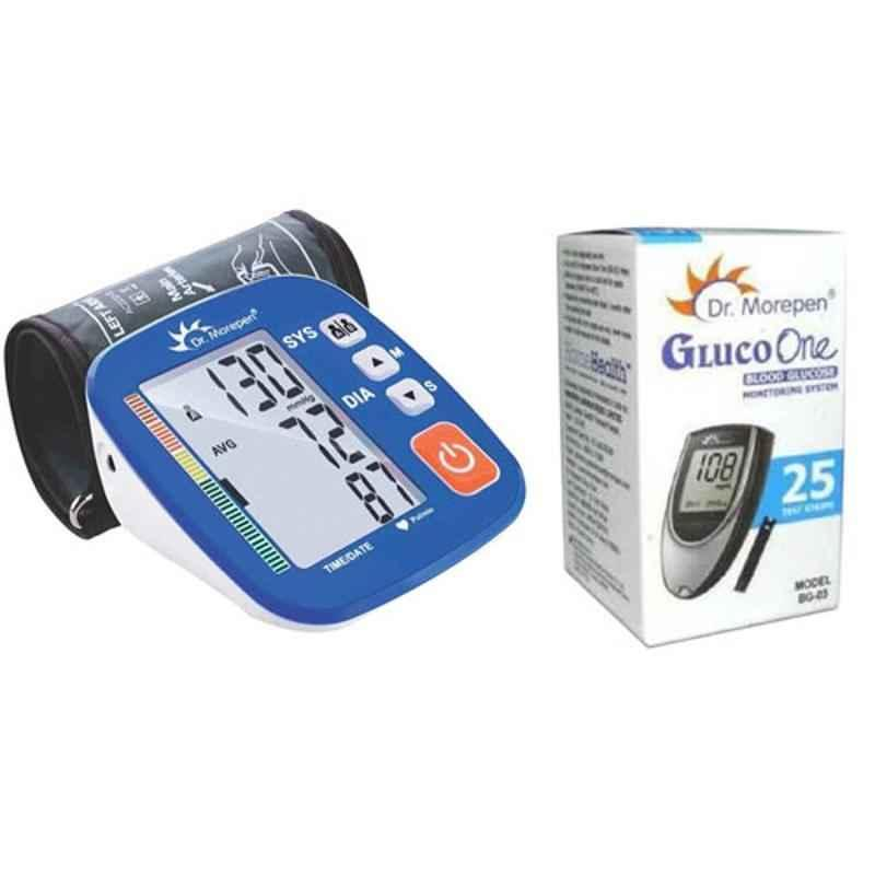 Dr. Morepen BP-02-XL Blood Pressure Monitor & BG-03 Gluco One 25 Test Strips Combo