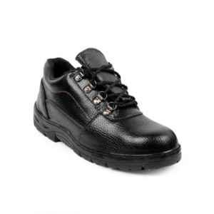 Woakers Synthetic Leather Steel Toe Airmix Sole Black Safety Shoes, Size: 7