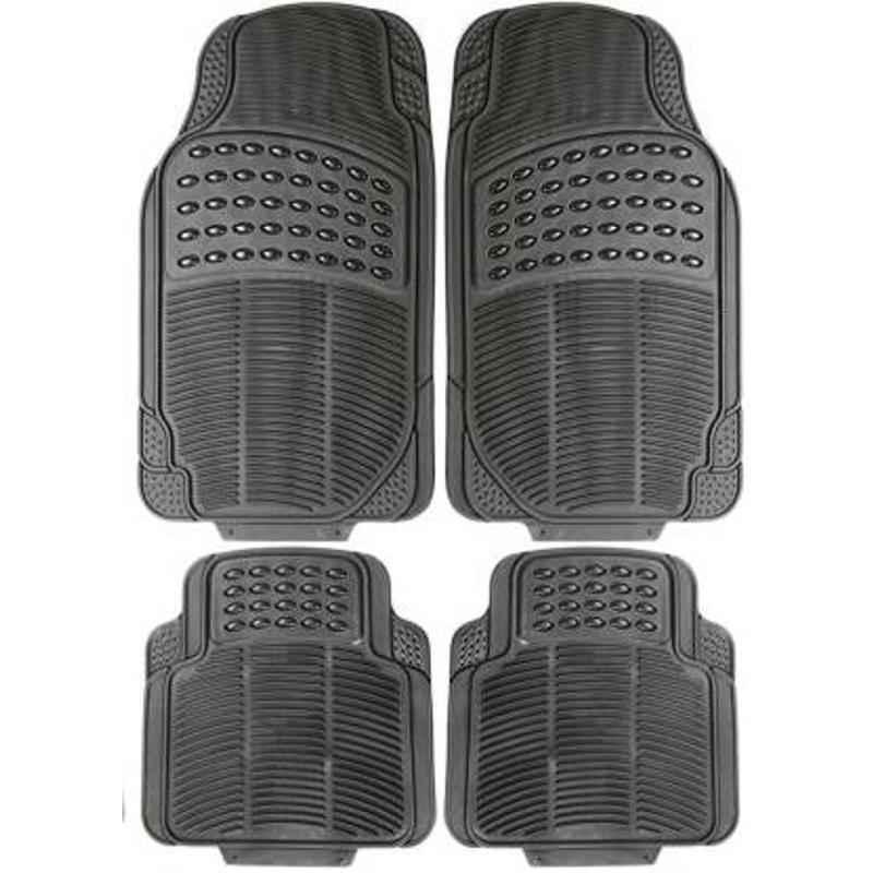 Love4ride 4 Pcs Black Rubber Car Floor Mat Set for All Cars