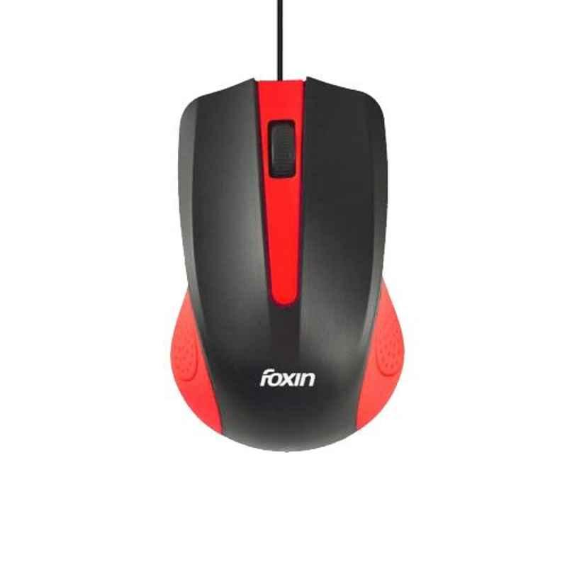Foxin CLASSY Red Wired Optical Mouse