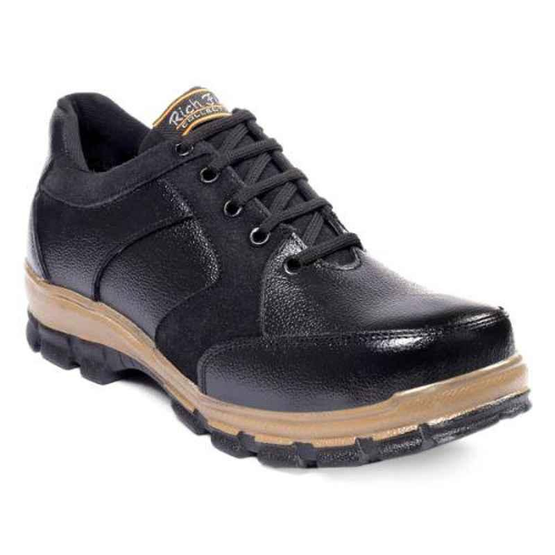 Rich Field SGS1131BLK Leather Low Ankle Steel Toe Black Safety Shoes, Size: 6