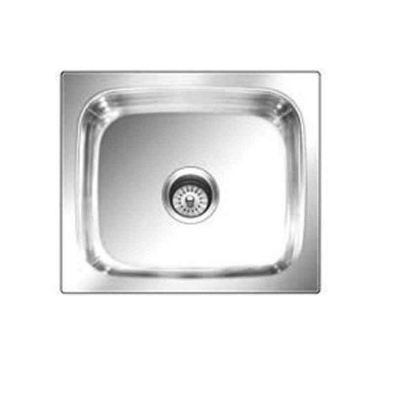 Crocodile 21x18x8 inch Hi Gloss Finish Single Bowl Stainless Steel Kitchen Sink