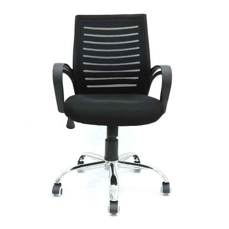 VJ Interior Avion Polypropylene & Upholstery Net Fabric Black Medium Back Executive Task Chair, VJ-803